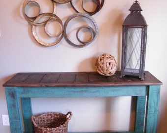 Rustic Console Table, Distressed Sofa Tabl, Hand Painted Entry Table, TV Stand, Country Side Table, Buffet Server
