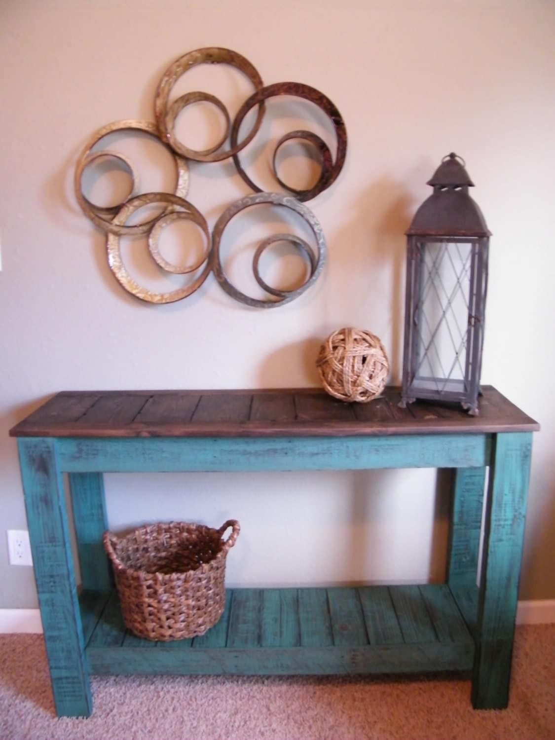 Rustic console table distressed sofa tabl hand painted entry for Rustic sofa table