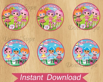 Lalaloopsy Cupcake Toppers , Lalaloopsy Birthday Circles, Instant Download, Digital File