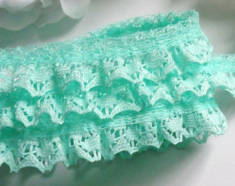Ruffled Lace Trim 3/4 inch wide white /orange/mint/purple /blue selling by the yard