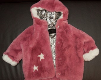 New natural girls fur coat with stars