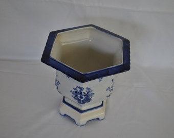 Staffordshire Ironstone Octagonal Porcelain Decorative Planter England