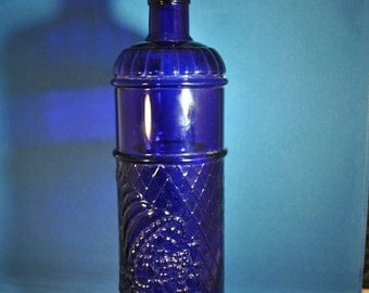 Blue Cobalt Crystal Wine Bottle with Topper