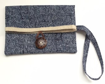Handmade Cell Phone Clutch with Pocket, Wristlet