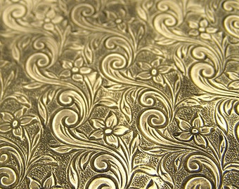 2 Solid Yellow Brass 22 gauge 3x3 inch Floral Swirl Textured sheets