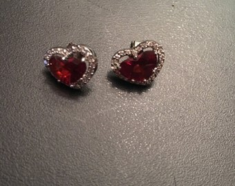 Red Crystal heart studs