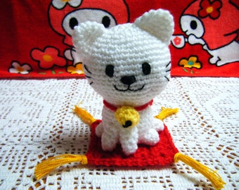Crochet Amigurumi Cat, Crochet Japanese Cat, Cute Amigurumi Cat