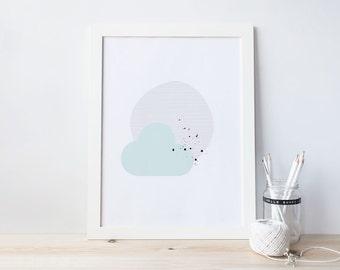 Dreaming Art Print - Digital Print - Blue
