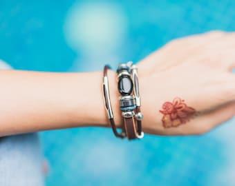 Leather Agate Bracelet, Beads Bracelet, Unisex Bracelet,  Leather Cuff,Bracelet, Wrist Jewelry, LO52