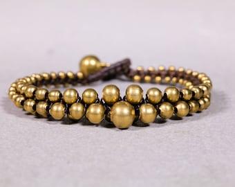 Beaded Bracelet- Gold Bracelet-Brass Clustered Beads Bracelet - B-45