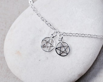 Sterling Silver Anklet, Silver Anklet With Pentacle Star Charm, Real Silver Chain,Delicate Anklet, Silver Foot Chain, Anklet,(AS 46)