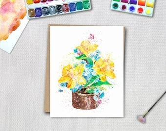 Yellow flower print, botanical print, yellow flower, watercolor flower print, watercolor flowers, floral watercolor, nursery wall art.