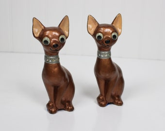 Pair of Vintage Google Eyed Plaster Cats