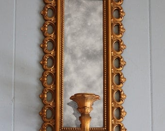 Decorative Framed Mirror with Candle Holder
