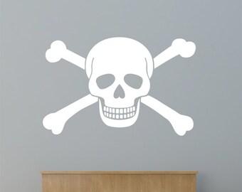 Skull and Crossbones Boy's Wall Sticker - Children's Pirate Flag Jolly Roger Art Vinyl Transfer - by Rubybloom Designs