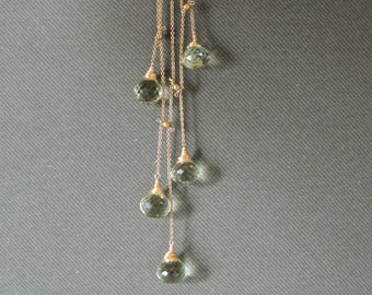 Pale Green Amethyst Necklace, Cascade  Drops, Gold Filled  Necklace