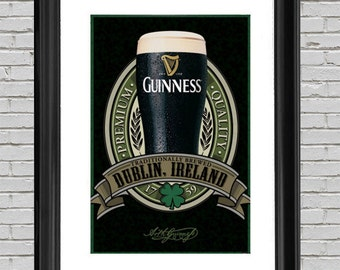 Guinness Beer Poster Art Print 24x36, Wall Art, Man Cave Art, Home Wall Decor, Guinness Beer Art, Beer Lover, Craft Beer Art, Beer Poster