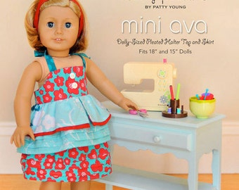 """ModKid - Mini Ava - Paper Sewing Pattern for 18"""" Doll's top and skirt"""
