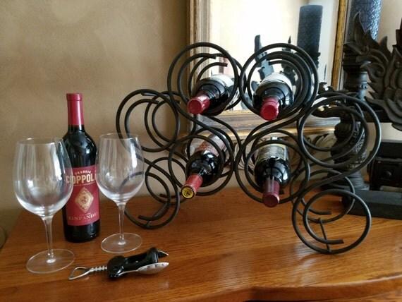 Vintage Black Metal Wine Rack Heavy Metal Wine Holder 8