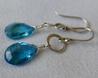 London Blue Topaz Earrings, Topaz earrings, dangle earrings, drop earrings, blue earrings, sterling silver earrings, gold filled earrings