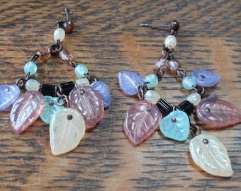 Vintage Multicolored Stone Leaf Earrings