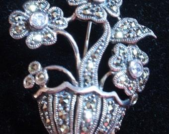Rare Stunning Sterling Marcasite Flower Basket