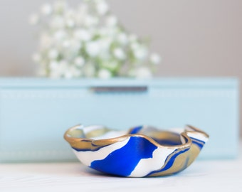 Royal Blue and Gold Marbled Clay Ring Dish, Royal Blue Clay Ring bowl, Marbled Clay Jewelry Holder, Clay Jewelry Storage