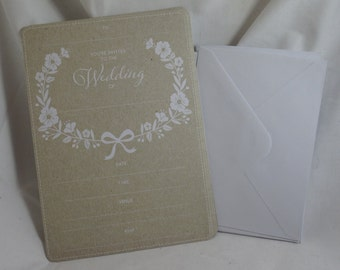 Party Invitation & Envelope - Wedding x 16 - recycled paper