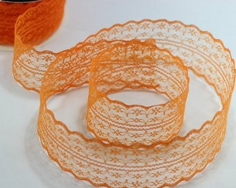 45 mm Orange Lace trim - Seam(1.77 inches) Binding hem tape chantilly lace trim for bridal, baby, lingerie, hair accessories  -