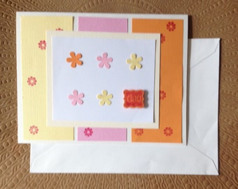 """Handmade Greeting Card- Floral Spring Multicolor  """"Ciao"""" Blank Greeting Card"""