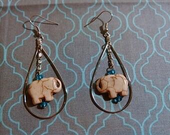 White Jade (Howlite) Elephant Earrings