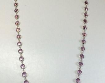 "Raindrops Necklace - Light Amethyst/Rhodium 36"" Swarovski crystal"