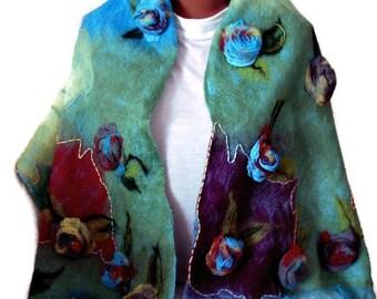 Nuno felted scarf,Felted scarf,Nuno felt scarf,Silk scarf,Accessories, scar,Felted wool scarf ,Gift for her ,Silk shawl ,Nuno felted shawl