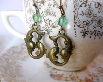 Two fish earrings with salvaged vintage glass rosary beads