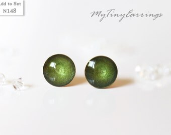 6mm Stud Green Pickle Earrings Round Tiny Epoxy Resin Mini Gift for Her - Stainless Steel Gold Plated Posts 148