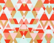 Triangles Fabric, Blush Coral Mint Fabric, Premium Quality Fabric, Geometric Fabric