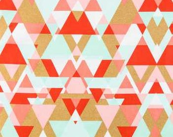 Metallic Gold Triangles Fabric, Coral Mint, Fabric by the yard, Fat Quarter, Quilting Fabric, Apparel Fabric, 100% Cotton Fabric