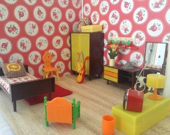 Dollhouse Miniature furniture scale 1:12  bedroomset, vintage,diorama, midcentury