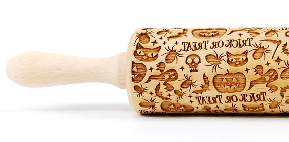 Engraved wooden rolling pin