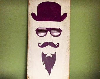 Hipster dude too wooden sign plaque gift present