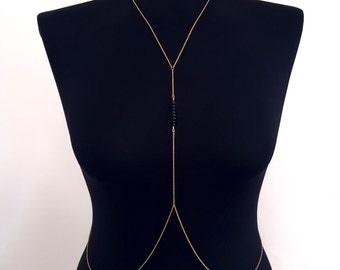 Black Beaded Body Chain