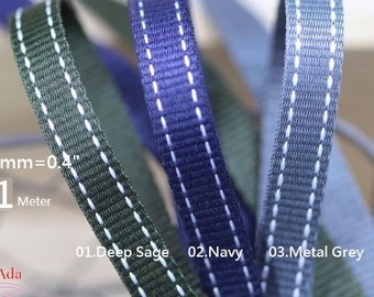 "E10113-10mm(0.4"") Stitched Woven Ribbon-Deep Sage,Navy,Metal Grey - (Pick Color)1 Meter- Accessories DIY,Home Decor,Pet Leashes."