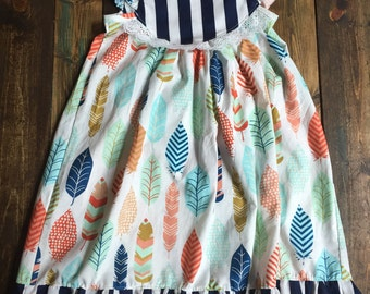 Flutter Dress | Striped Feathers | size 3m to 8y