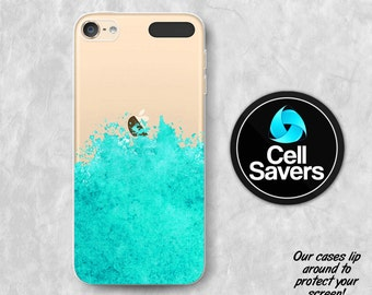 Mint Watercolor Splatter Clear iPod 5 Case iPod 6 Case iPod 5th Generation iPod 6th Generation Rubber Case Gen Clear Case Art Paint Tumblr