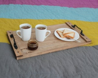 Wooden Tray, Rustic Tray, Wine Barrel Tray, Wooden Serving Tray, Wedding Gift, Salver, Server, Breakfast in bed Birthday gift Gift for home