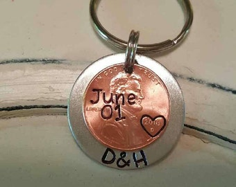 Wedding/Anniversary Gift, Lucky Penny Keychain, Anniversary Penny Keychain