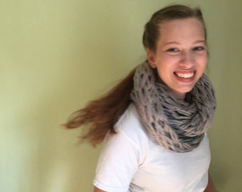 Gray Hand-knit Chunky Scarf
