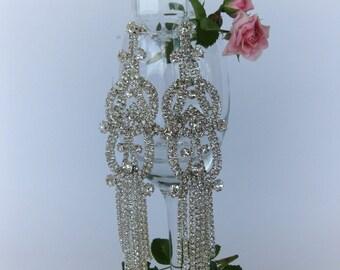 "Crystal Bridal Earrings ""Mountain Pagoda"", Wedding Earrings, Bridesmaid Jewelry, Bride Earrings, Post Earrings, Dangle Earrings"