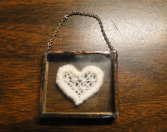 "Miniature Glass Encased Tatted Heart in Sealed Copper Metal Frame W/ Delicate Goldtone Chain - 1 3/8"" Square - Wonderful!"
