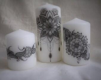 Hand Printed Mandala candle set